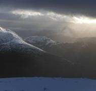 Late evening descent from a days winter climbing on Carrauntoohil