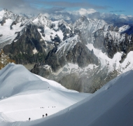 Midi Plan and looking toward the Grand Jorasses