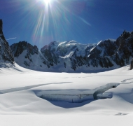 Arete de la Brenva, Mont Blanc beyond, Tour Ronde on the left and Grand Capucin on the right