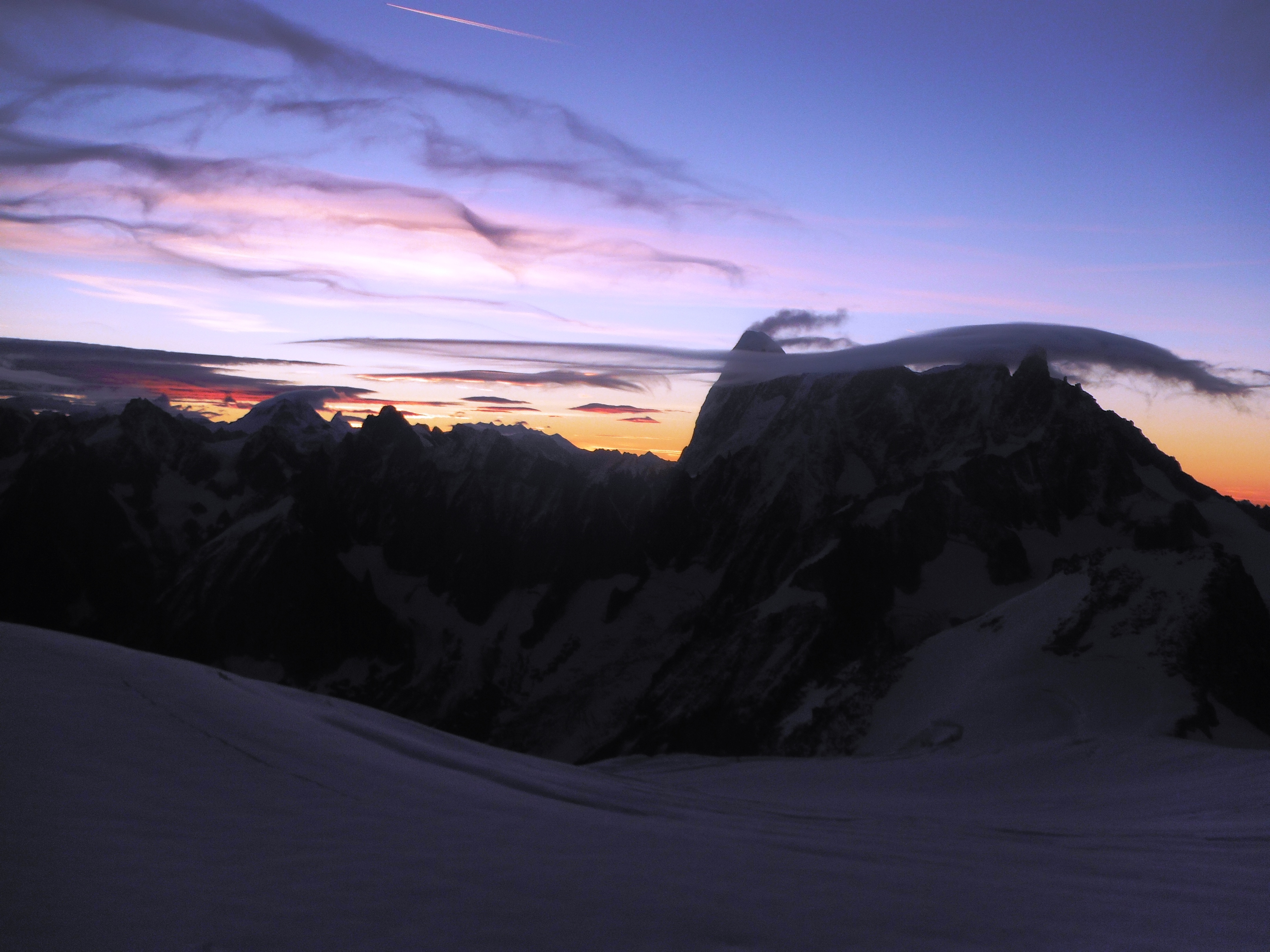 Sun-set over the Grand Jorasses and Dent du Geant