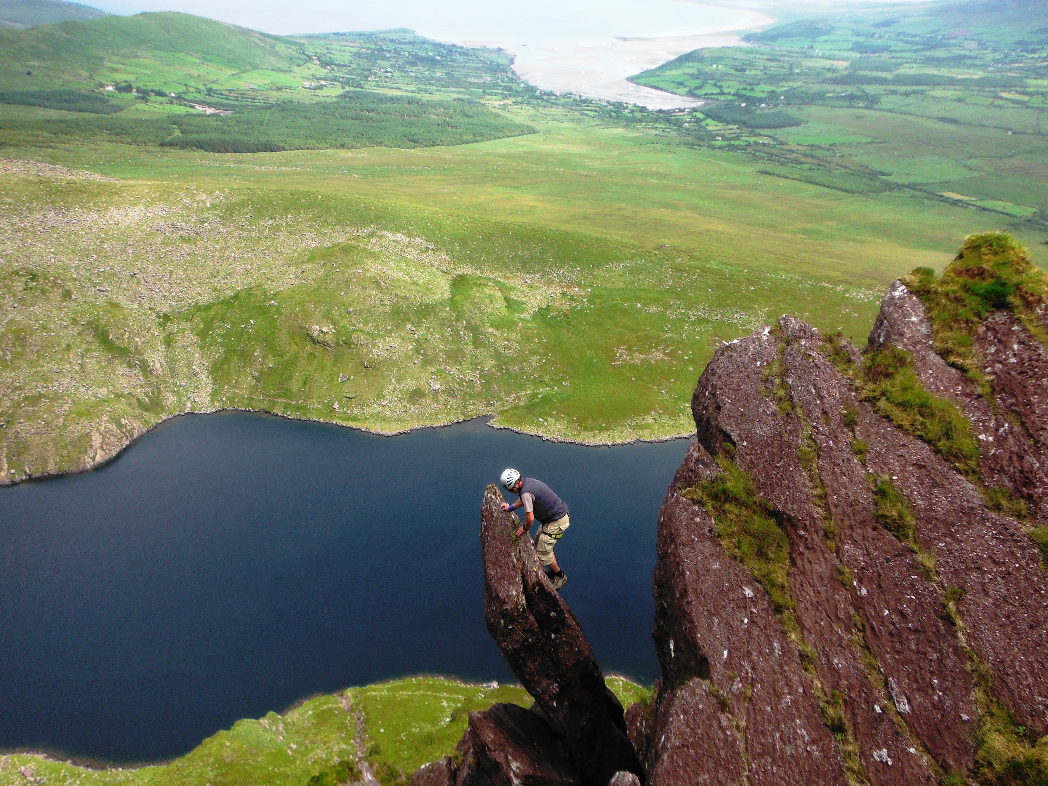 Airy situations while scrambling on the superb East Ridge of Brandon Peak, Dingle Peninsula