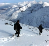 Reluctanly it's time to descend after a sensational days Winter Skills course on Corrán Tuathail