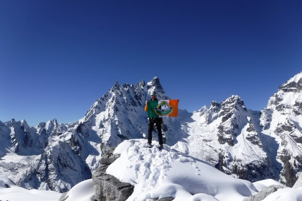 Piaras on summit of Diwali Lho after first ever ascent!