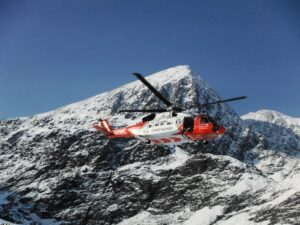 Rescue Helicopter training in the Wintry Hags Glen