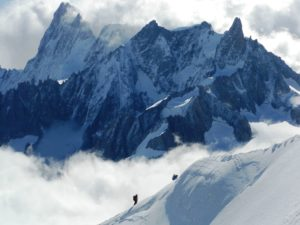 The Grand Jorasses towers over an impressive chain of jagged peaks above Chamonix