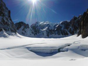 Arete de la Brenva, Mont Blanc beyond, Tour Ronde on the left and Grand Capucin on the right