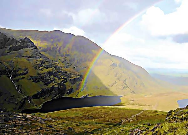 Hags Glen rainbow postcard