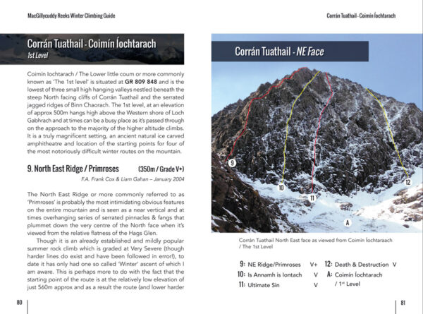 MacGillycuddy's Reeks winter climbing guide sample pages