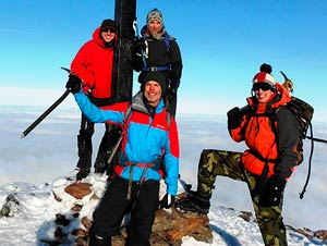Winter climbing group